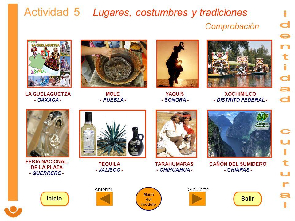 identidad cultural Actividad 5 Lugares, costumbres y tradiciones