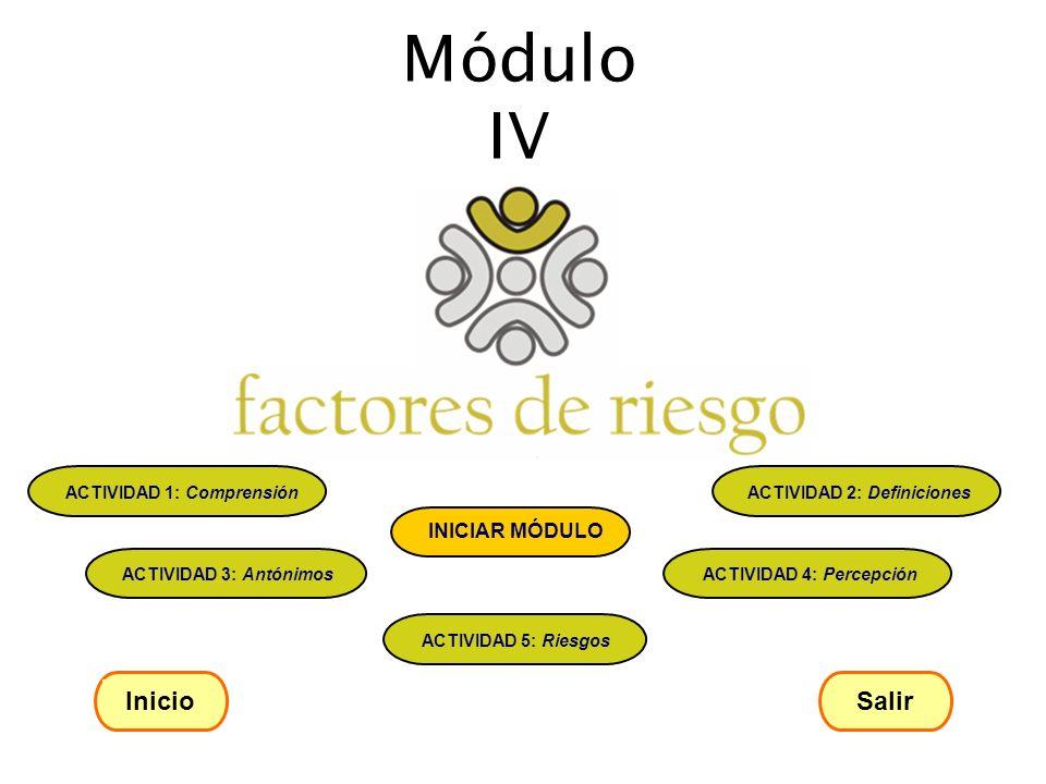 Módulo IV Inicio Salir ACTIVIDAD 1: Comprensión