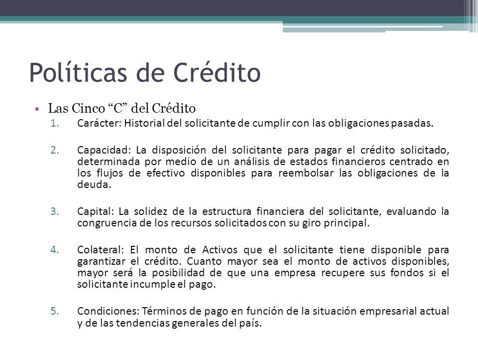 Políticas de Crédito Las Cinco C del Crédito