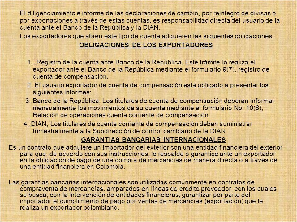 OBLIGACIONES DE LOS EXPORTADORES GARANTIAS BANCARIAS INTERNACIONALES
