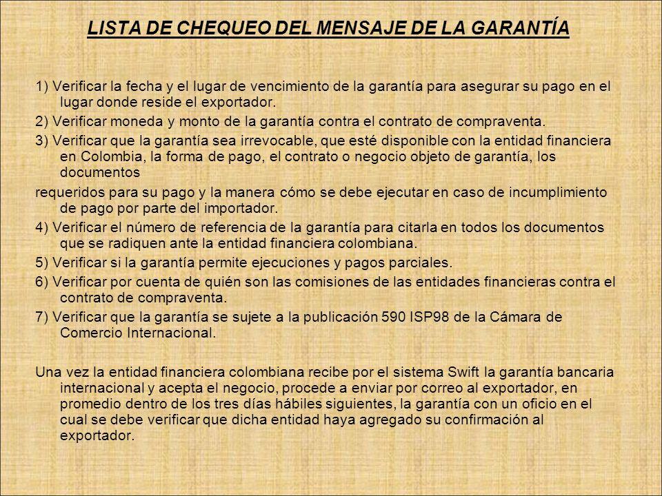 LISTA DE CHEQUEO DEL MENSAJE DE LA GARANTÍA