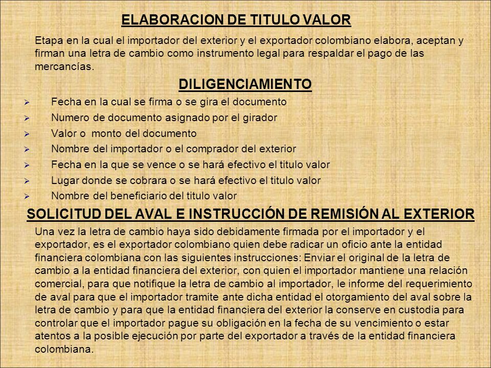 ELABORACION DE TITULO VALOR