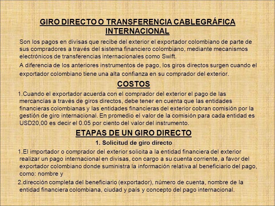 GIRO DIRECTO O TRANSFERENCIA CABLEGRÁFICA INTERNACIONAL