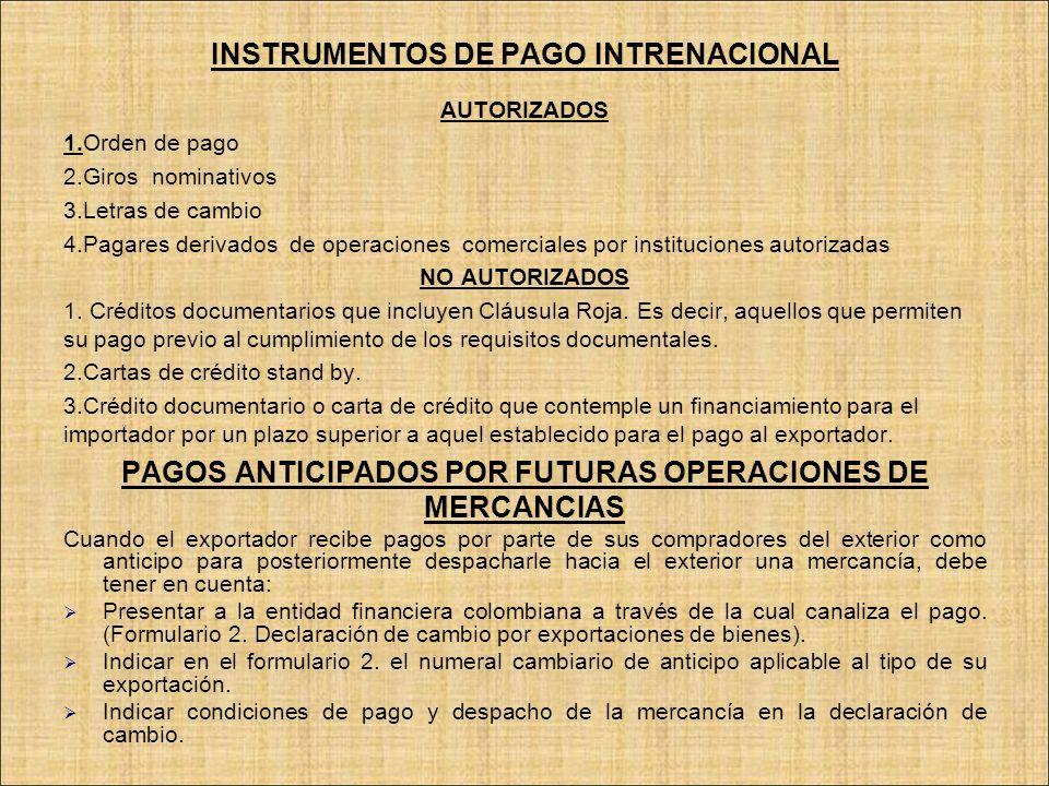 INSTRUMENTOS DE PAGO INTRENACIONAL