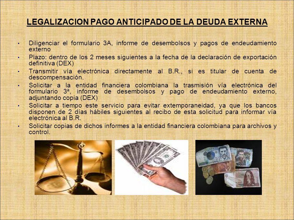 LEGALIZACION PAGO ANTICIPADO DE LA DEUDA EXTERNA