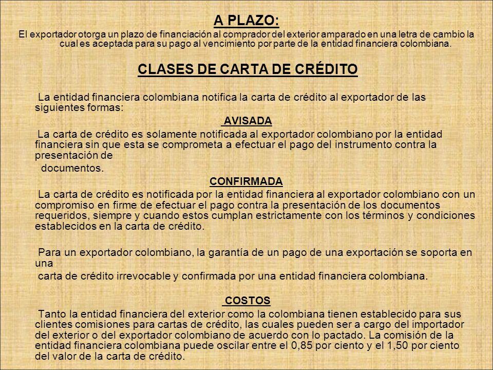 CLASES DE CARTA DE CRÉDITO
