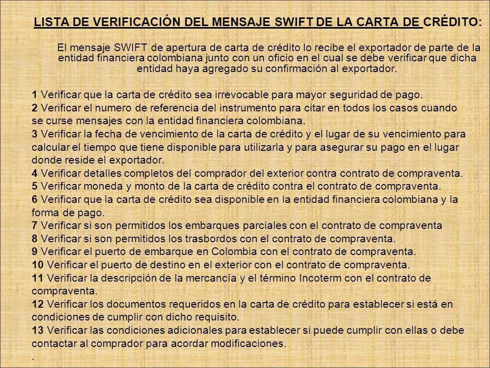 LISTA DE VERIFICACIÓN DEL MENSAJE SWIFT DE LA CARTA DE CRÉDITO: