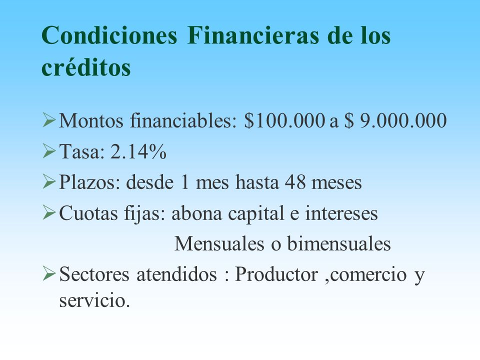 Condiciones Financieras de los créditos