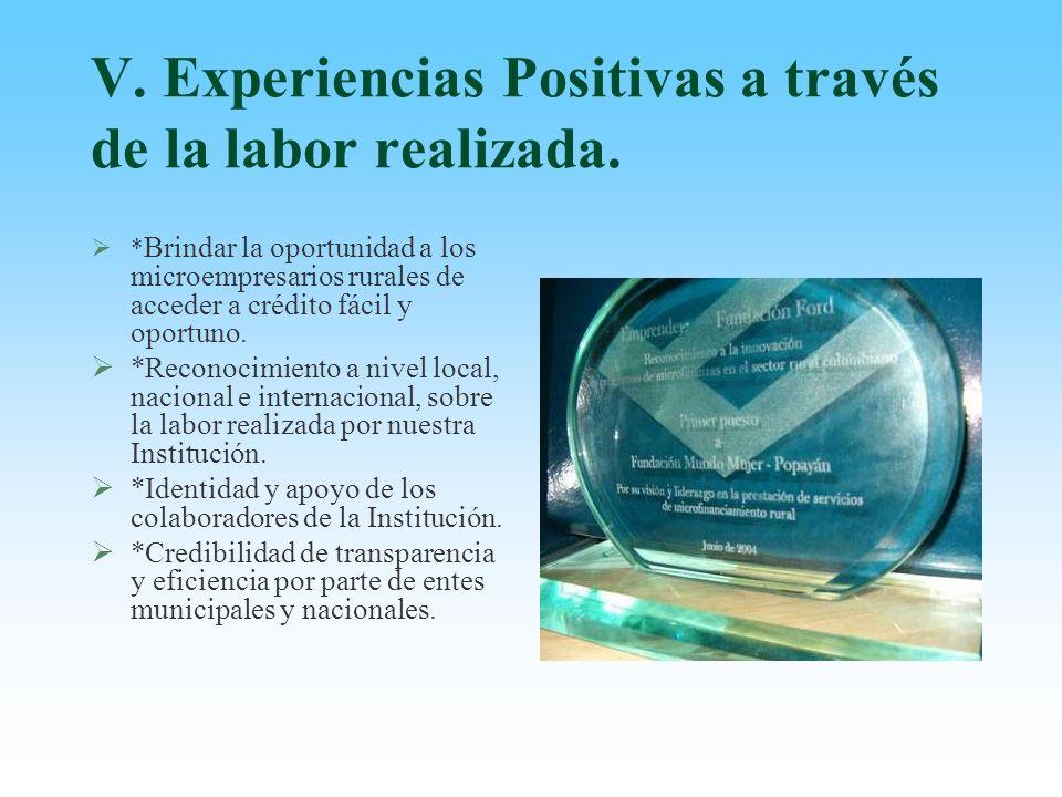 V. Experiencias Positivas a través de la labor realizada.