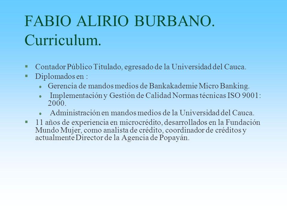 FABIO ALIRIO BURBANO. Curriculum.