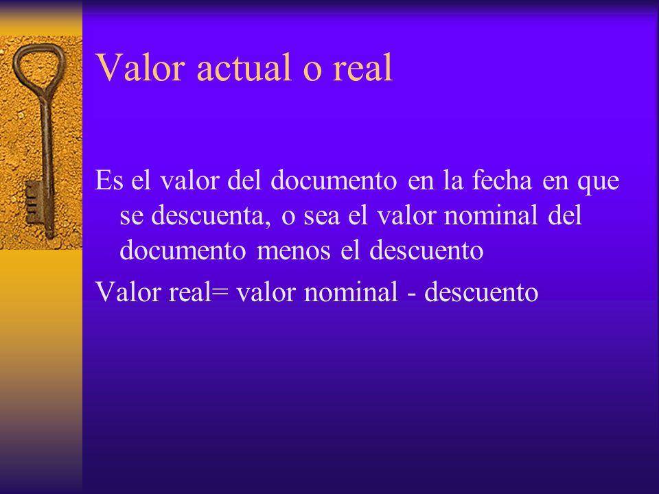 Valor actual o real Es el valor del documento en la fecha en que se descuenta, o sea el valor nominal del documento menos el descuento.