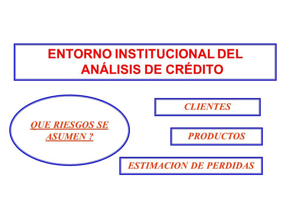 ENTORNO INSTITUCIONAL DEL ANÁLISIS DE CRÉDITO ESTIMACION DE PERDIDAS