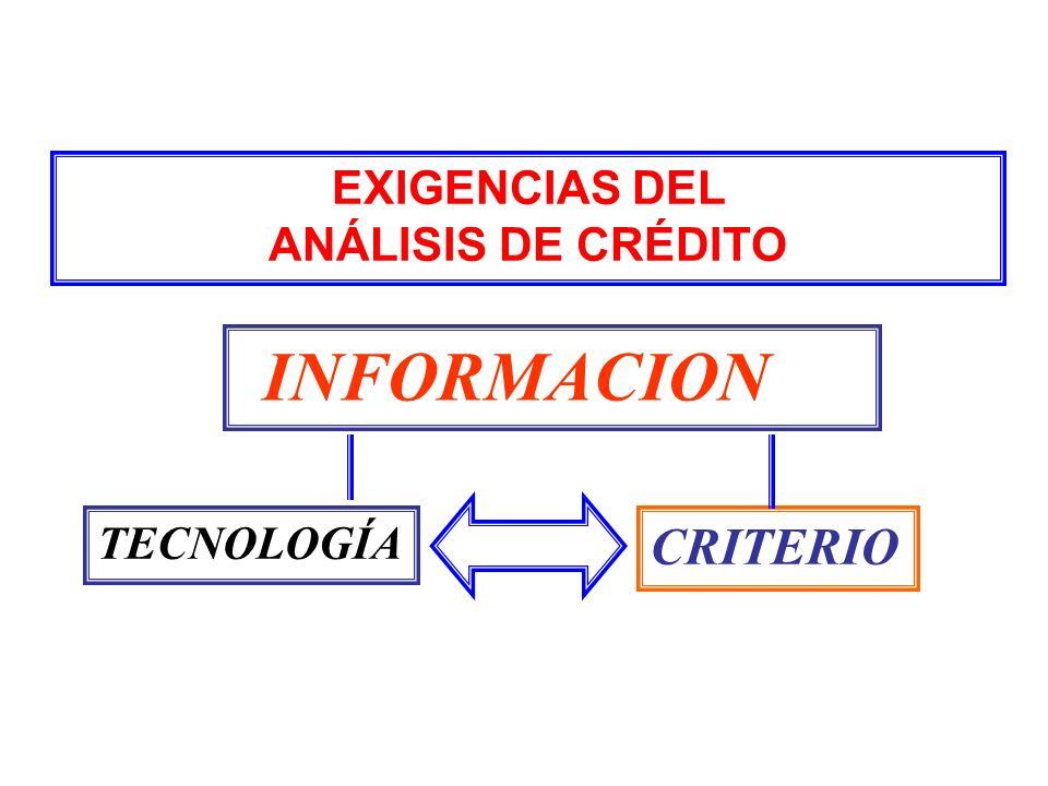 EXIGENCIAS DEL ANÁLISIS DE CRÉDITO INFORMACION TECNOLOGÍA CRITERIO