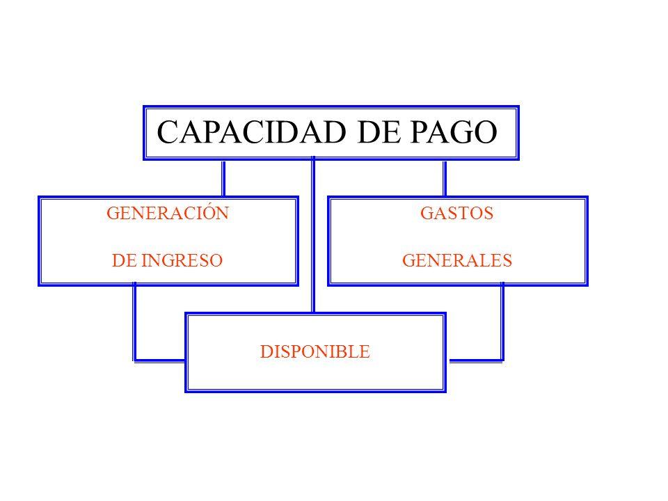 CAPACIDAD DE PAGO GENERACIÓN DE INGRESO GASTOS GENERALES DISPONIBLE