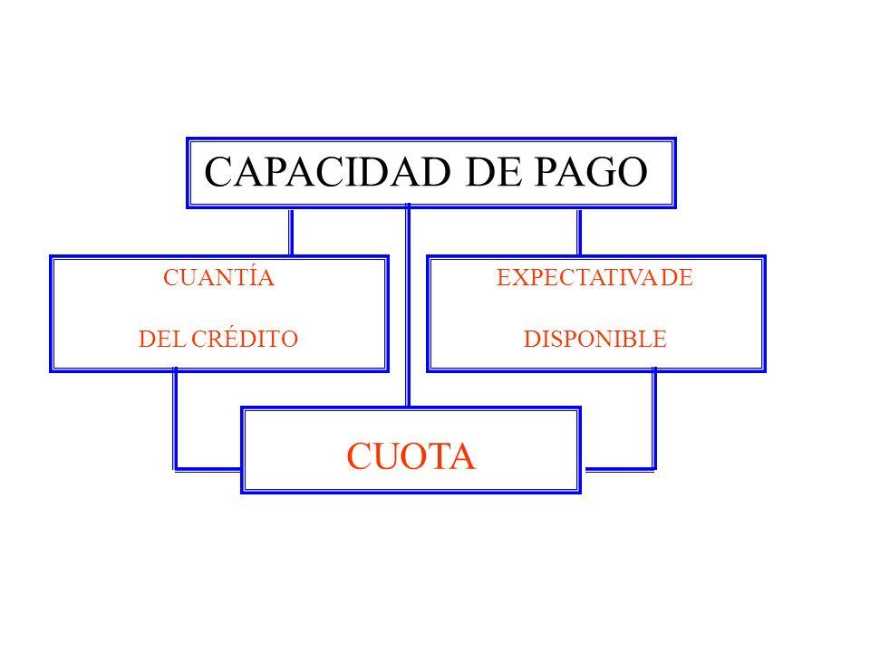 CAPACIDAD DE PAGO CUANTÍA DEL CRÉDITO EXPECTATIVA DE DISPONIBLE CUOTA