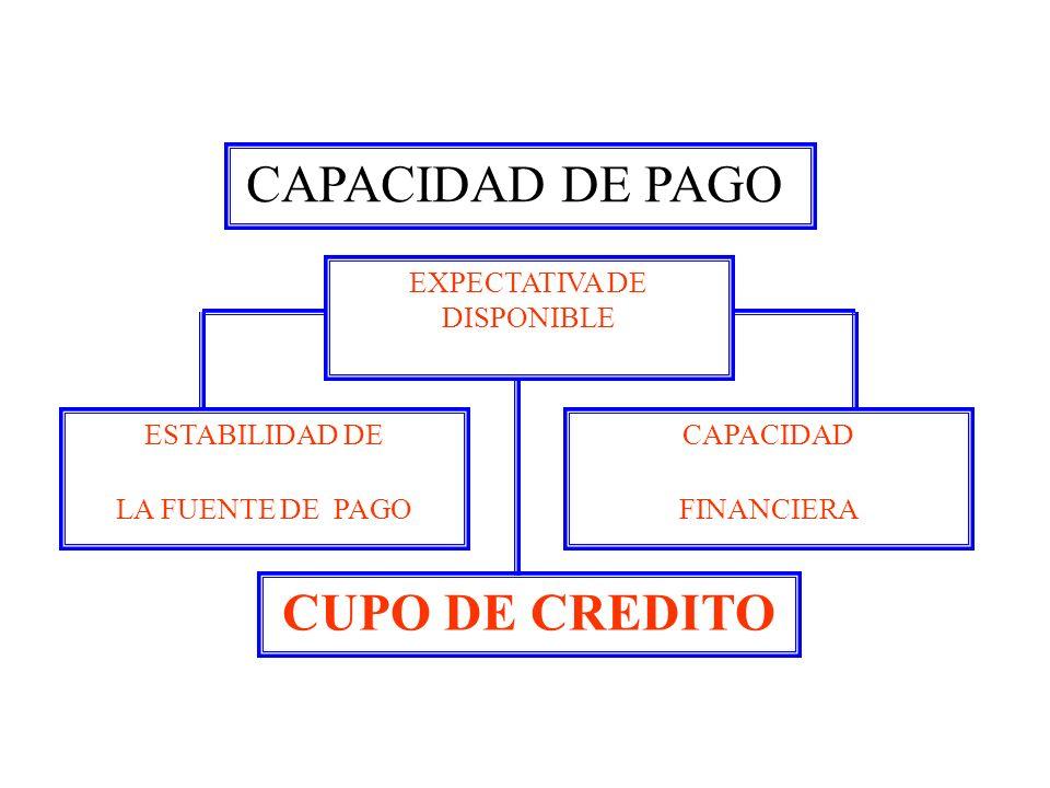 CAPACIDAD DE PAGO CUPO DE CREDITO EXPECTATIVA DE DISPONIBLE