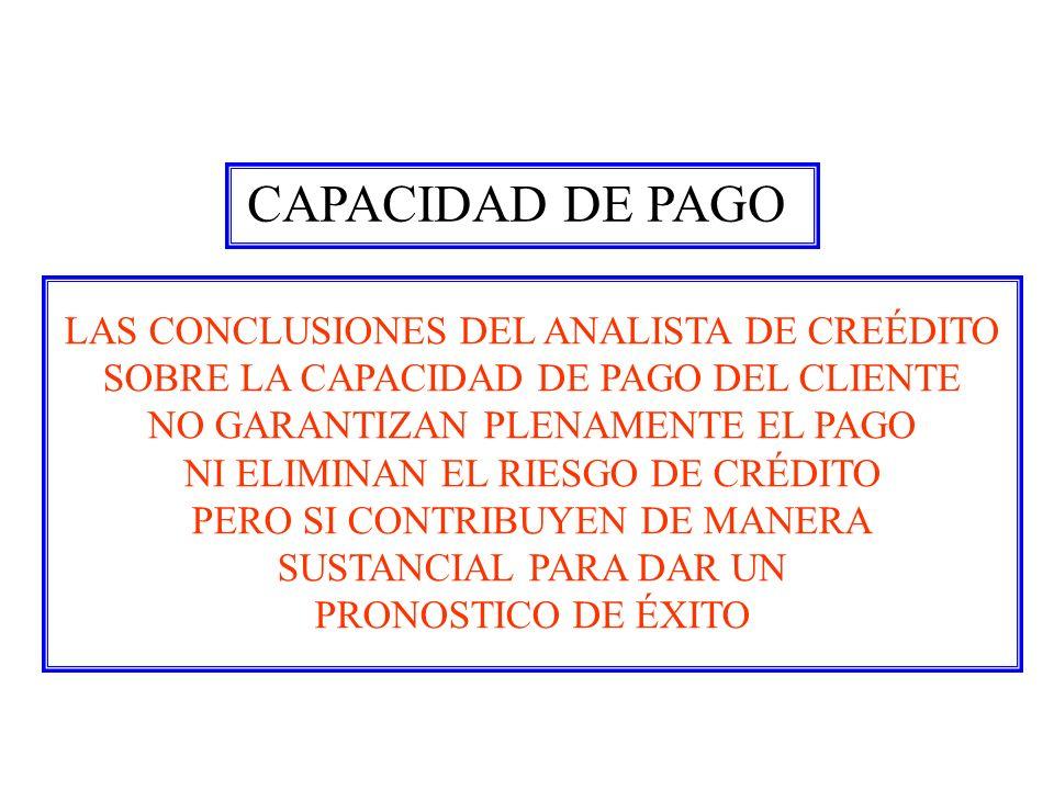 CAPACIDAD DE PAGO LAS CONCLUSIONES DEL ANALISTA DE CREÉDITO