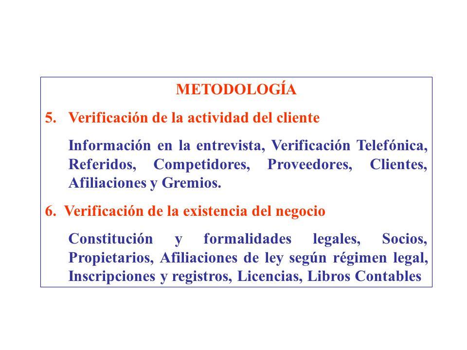 METODOLOGÍA Verificación de la actividad del cliente.