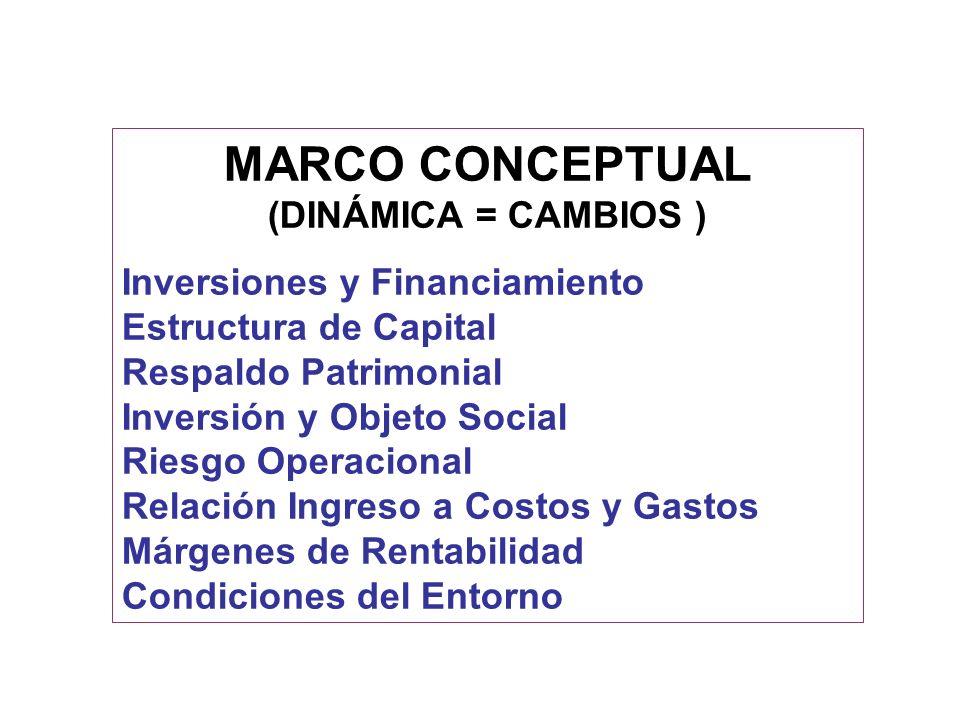 MARCO CONCEPTUAL (DINÁMICA = CAMBIOS ) Inversiones y Financiamiento
