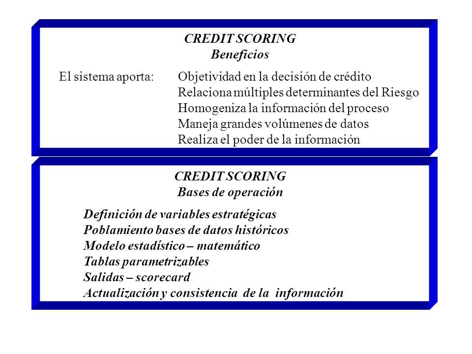 CREDIT SCORING Beneficios. El sistema aporta: Objetividad en la decisión de crédito. Relaciona múltiples determinantes del Riesgo.
