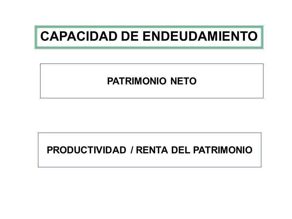 CAPACIDAD DE ENDEUDAMIENTO PRODUCTIVIDAD / RENTA DEL PATRIMONIO