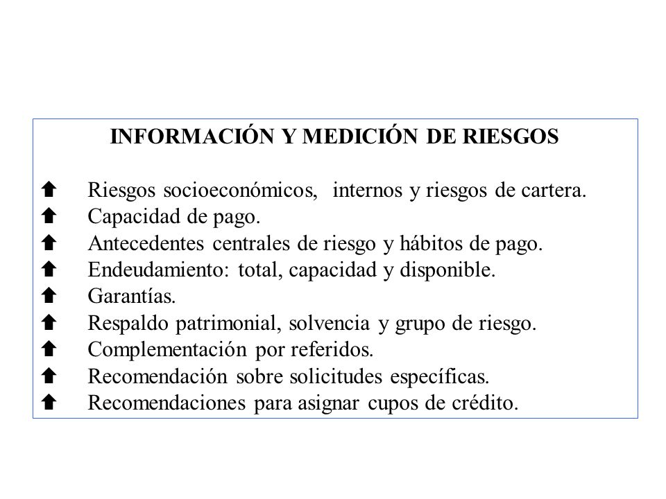 INFORMACIÓN Y MEDICIÓN DE RIESGOS