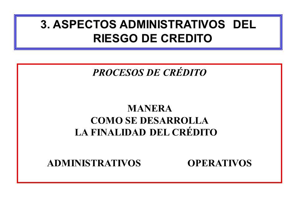 3. ASPECTOS ADMINISTRATIVOS DEL RIESGO DE CREDITO