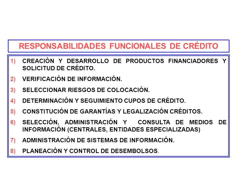 RESPONSABILIDADES FUNCIONALES DE CRÉDITO