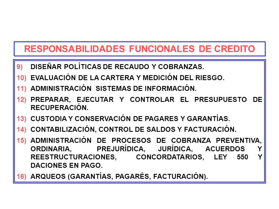 RESPONSABILIDADES FUNCIONALES DE CREDITO
