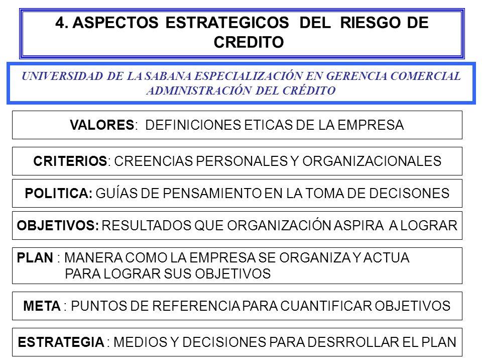 4. ASPECTOS ESTRATEGICOS DEL RIESGO DE CREDITO