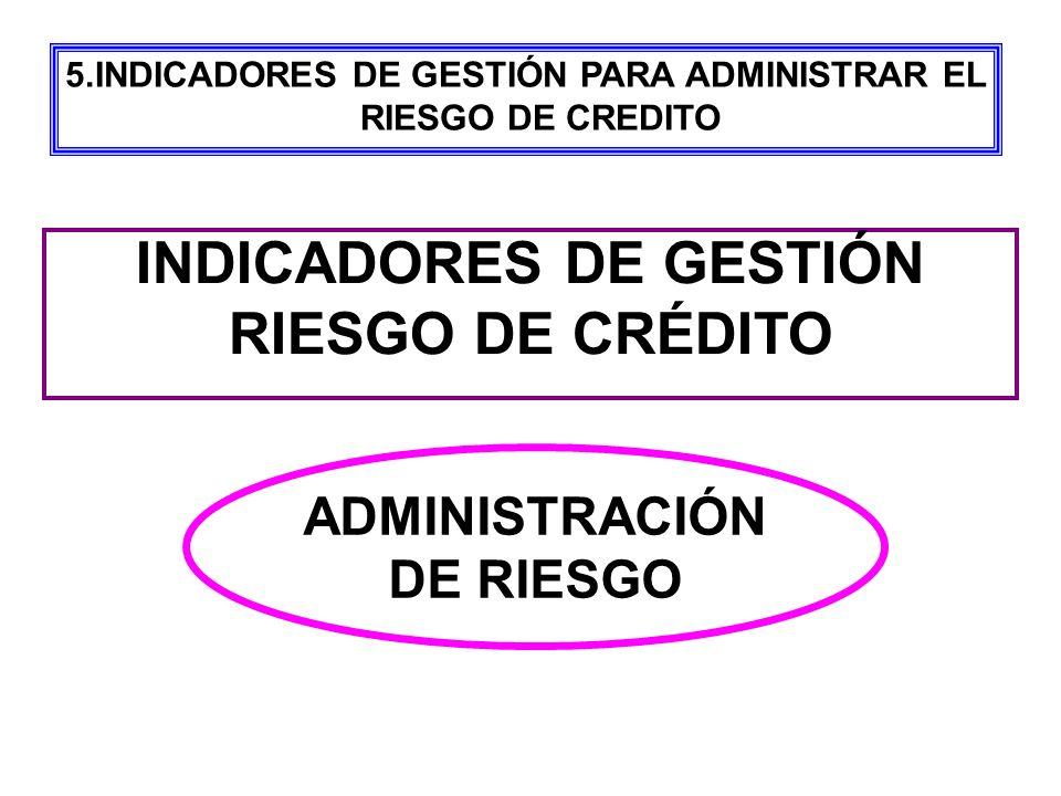 INDICADORES DE GESTIÓN RIESGO DE CRÉDITO