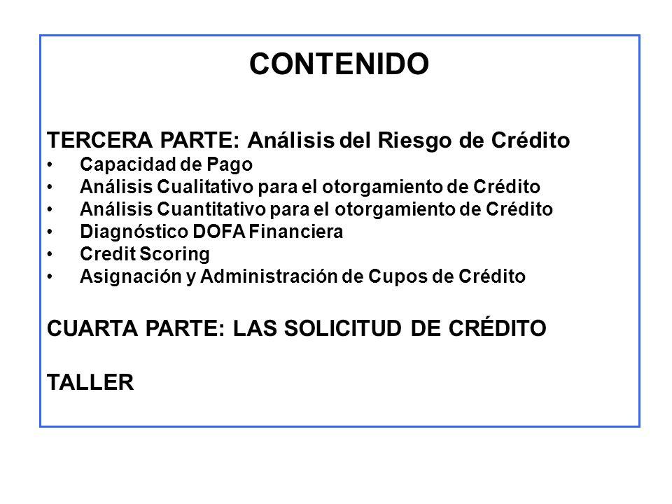 CONTENIDO TERCERA PARTE: Análisis del Riesgo de Crédito