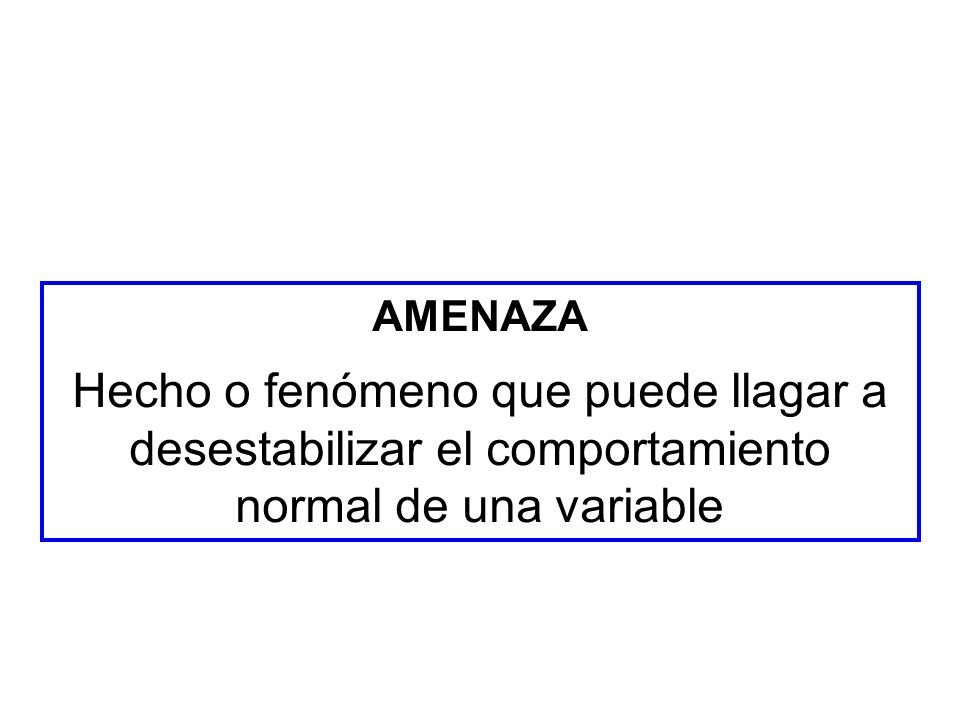 AMENAZA Hecho o fenómeno que puede llagar a desestabilizar el comportamiento normal de una variable.