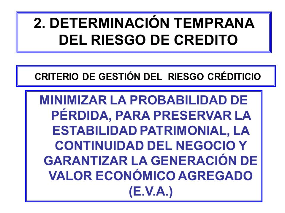 2. DETERMINACIÓN TEMPRANA DEL RIESGO DE CREDITO