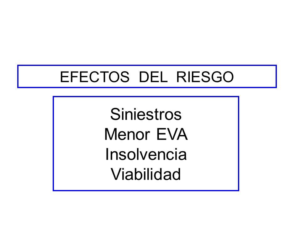 EFECTOS DEL RIESGO Siniestros Menor EVA Insolvencia Viabilidad