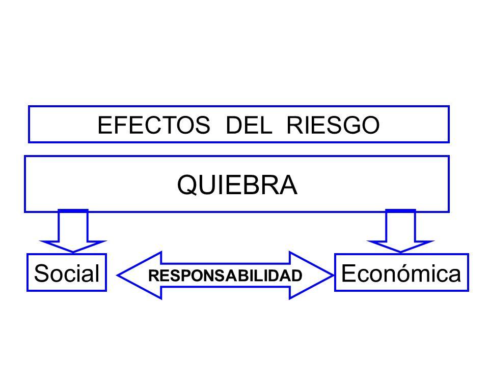 EFECTOS DEL RIESGO QUIEBRA Social RESPONSABILIDAD Económica