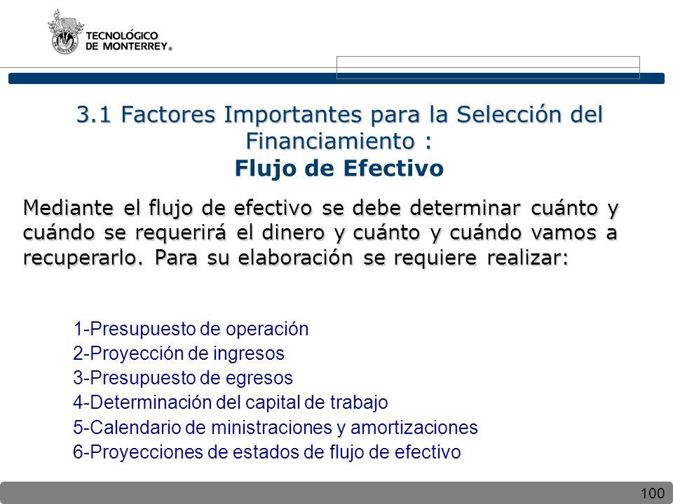 3.1 Factores Importantes para la Selección del Financiamiento : Flujo de Efectivo