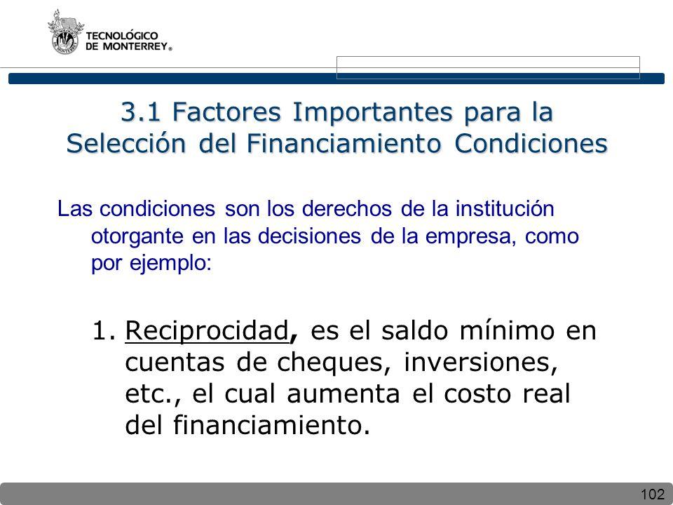 3.1 Factores Importantes para la Selección del Financiamiento Condiciones