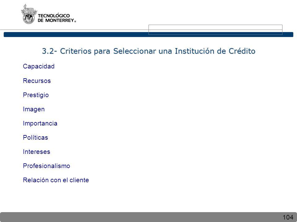 3.2- Criterios para Seleccionar una Institución de Crédito