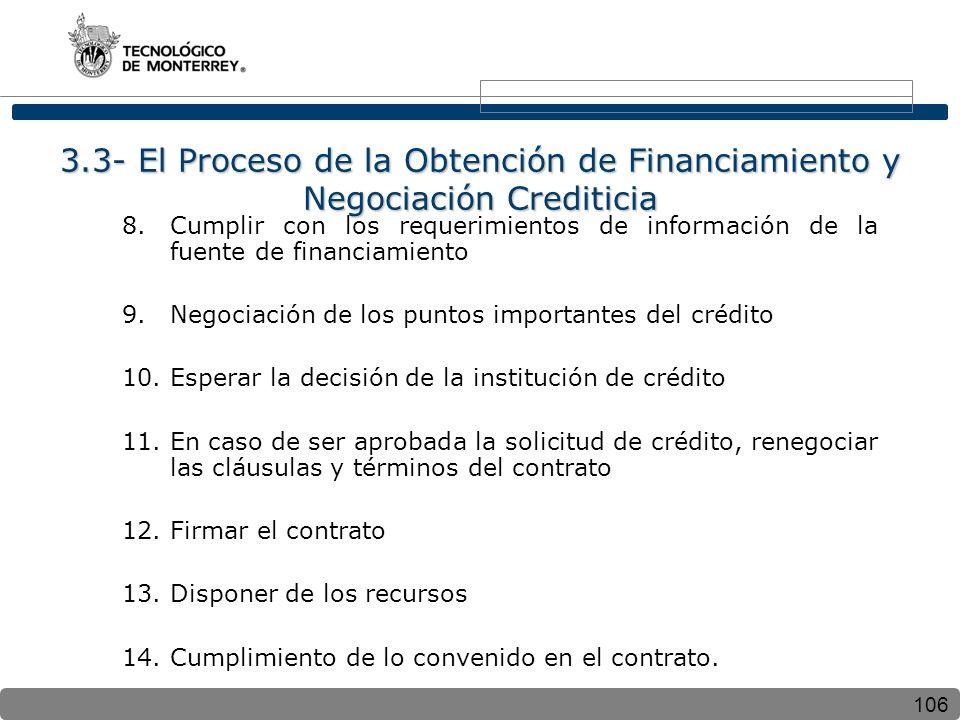 3.3- El Proceso de la Obtención de Financiamiento y Negociación Crediticia