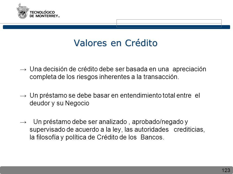 Valores en Crédito Una decisión de crédito debe ser basada en una apreciación completa de los riesgos inherentes a la transacción.