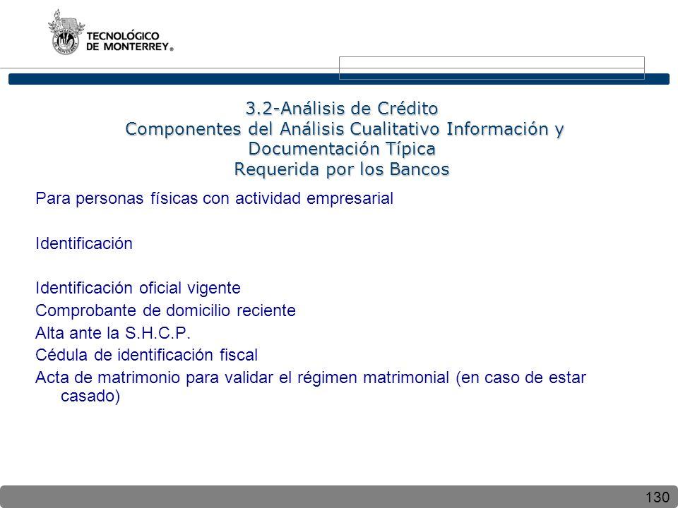 3.2-Análisis de Crédito Componentes del Análisis Cualitativo Información y Documentación Típica Requerida por los Bancos