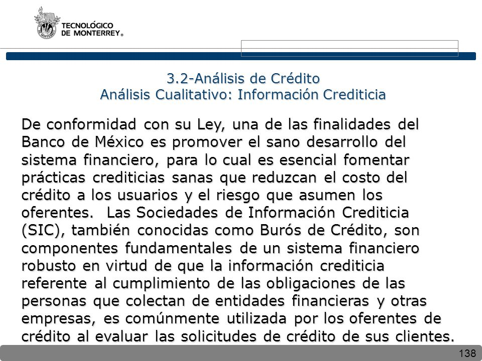 3.2-Análisis de Crédito Análisis Cualitativo: Información Crediticia