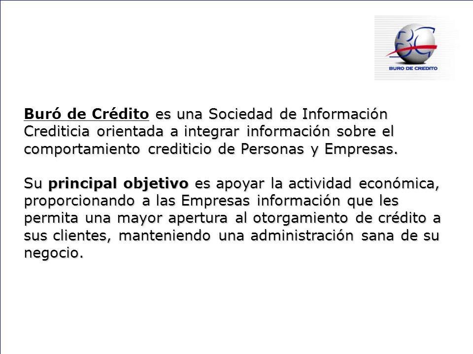 Buró de Crédito es una Sociedad de Información Crediticia orientada a integrar información sobre el comportamiento crediticio de Personas y Empresas.