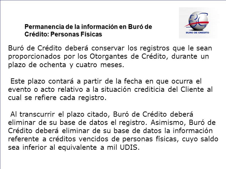 Permanencia de la información en Buró de Crédito: Personas Físicas
