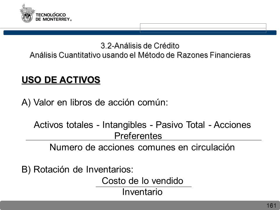 A) Valor en libros de acción común: