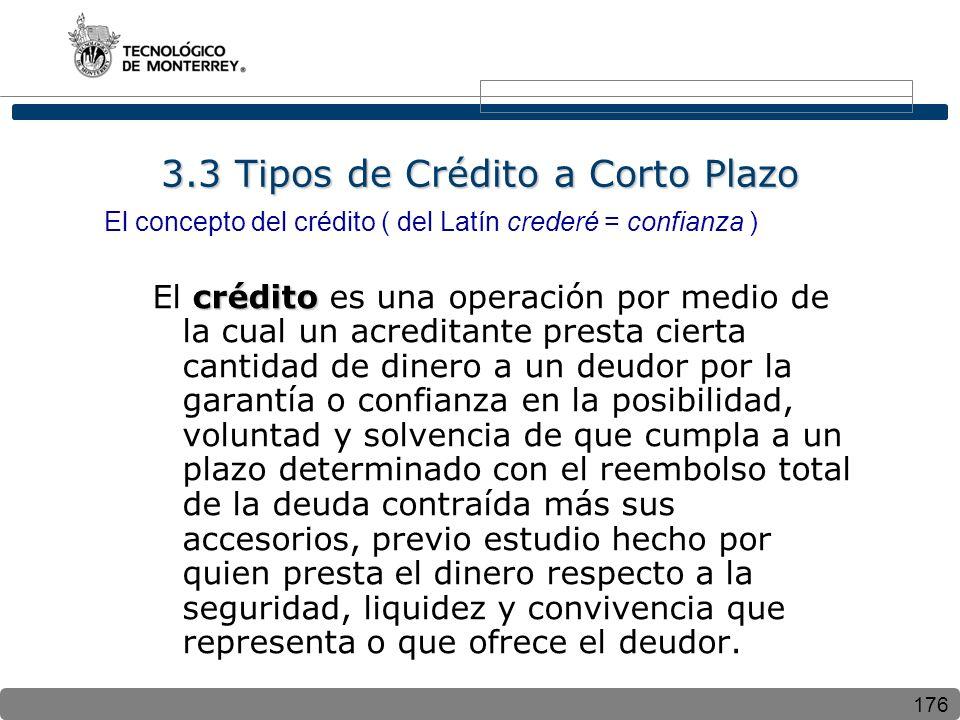 3.3 Tipos de Crédito a Corto Plazo