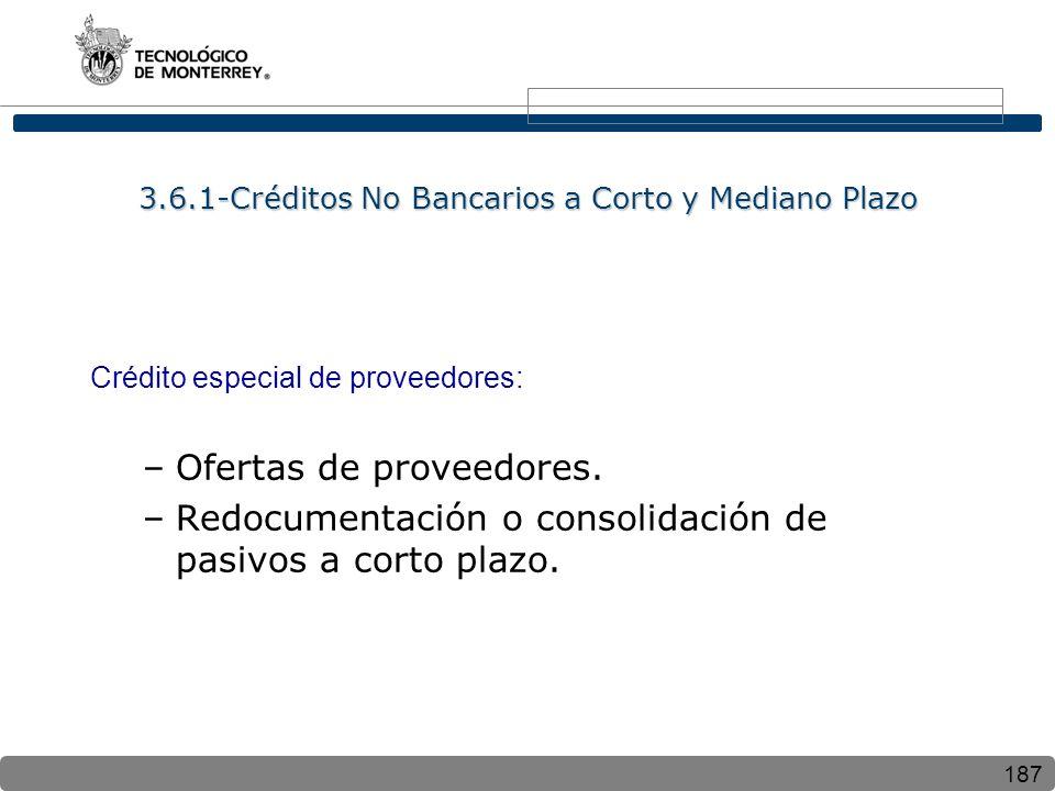 3.6.1-Créditos No Bancarios a Corto y Mediano Plazo