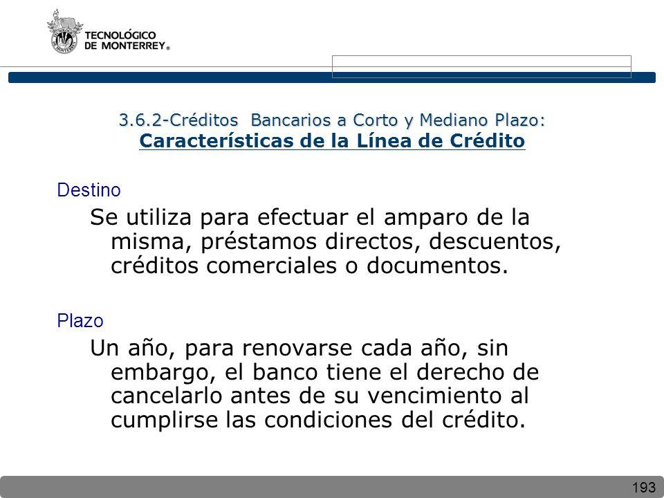 3.6.2-Créditos Bancarios a Corto y Mediano Plazo: Características de la Línea de Crédito