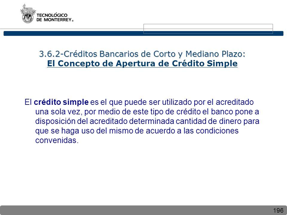 3.6.2-Créditos Bancarios de Corto y Mediano Plazo: El Concepto de Apertura de Crédito Simple